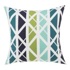 NEW Garden Treasures Geometric Levi Lattice Blue Square Patio Throw Pillow