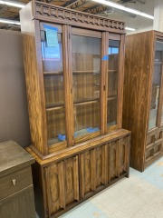 Mid Century Hutch w\/ Glass Doors