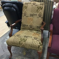 Tan Patchwork Arm Chair - GENTLY USED FURNITURE