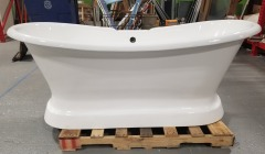 Langly Cast Iron Double-Slipper Pedestal Tub