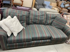 Green\/Red Striped Sofa