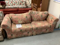Red Floral Pattern Ashley Sofa