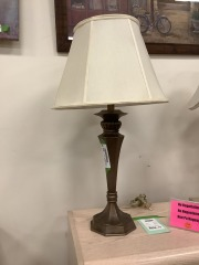Copper Finished Lamp w\/ Shade (Tested)