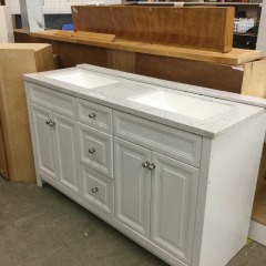 White Double Vanity with Sink - CABINETS