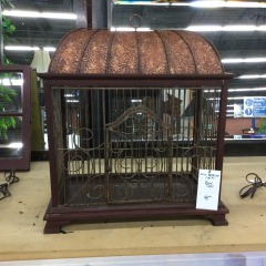 Metal and Wood Bird Cage - GENTLY USED FURNITURE