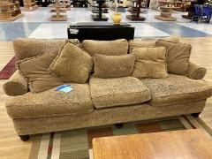Tan Paisley 3 Cushion Sofa