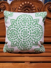 Green & Off White Outdoor Pillow