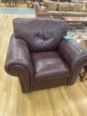 Brown Overstuffed Leather Chair