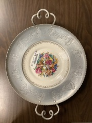 Hammered Aluminum  With Limoges Floral Plate