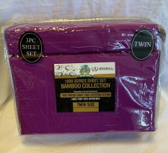 NEW Microfiber Bamboo Purple Sheet Set- Twin