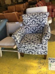 White and blue accent chair