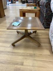 Vintage Oak Side Table w\/Wheels