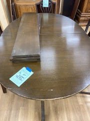 Dual Pedestal Wood Dining  Table w\/ Leaf