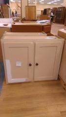 Tan wood upper cabinet
