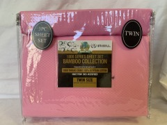 NEW Microfiber Bamboo Patterned Pink Sheet Set- Twin