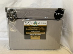 NEW Microfiber Bamboo Grey Sheet Set- Twin