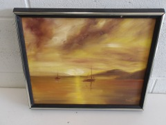 GENTLY USED Hand Painted Framed Art