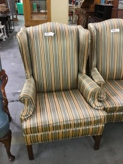 green and gold wingback chair