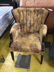 tan floral chair