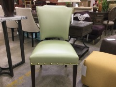 Design Master Mint Green Leather Side Chair - BETTER\/NEW FURNITURE