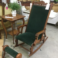 Antique Eastlake Style Rocker with Footrest - COLLECTIBLES