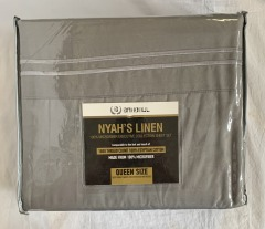 NEW 1800 Thread Count Egyptian Cotton Grey Sheet Set - Queen