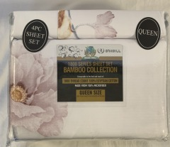 NEW Microfiber Bamboo Blush Peony Sheet Set- Queen