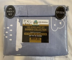 NEW Microfiber Bamboo Raindrops On Soft Denim Sheet Set- Queen