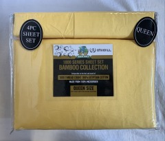 NEW Microfiber Bamboo Sunshine Yellow Sheet Set- Queen
