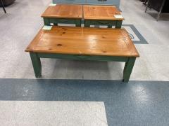 Wood Coffee Table w\/Green Accenta