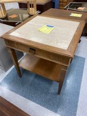 Wood End Table w\/Granite Top