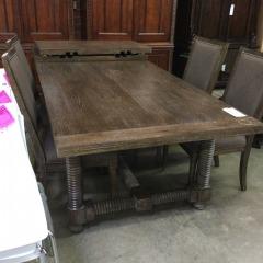 Bassett Furniture Driftwood Trestle Table w\/2 leaves - BETTER\/NEW FURNITURE