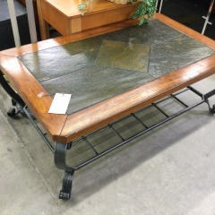 Slate Top Cocktail Table with Metal Base - GENTLY USED FURNITURE