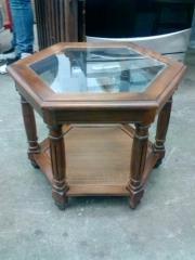 HEXAGON GLASS SIDE TABLE