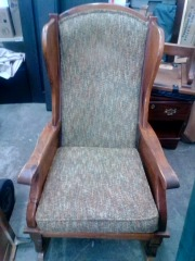 WOOD WINGBACK ROCKING CHAIR