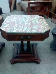 VINTAGE SIDE TABLE  W\/ DRAWER & GLASS TOP