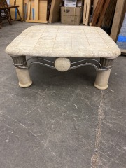 TILE TOP COFFEE TABLE W\/METAL ACCENT