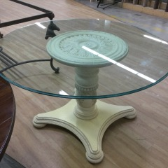 Pedestal Dining Table  with Glass Top - BETTER\/NEW FURNITURE