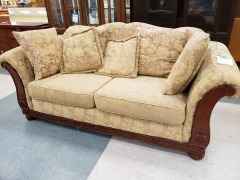 TAPESTRY WOOD FRAME SOFA W\/ THROW PILLOWS