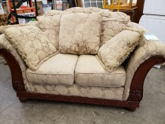 TAPESTRY WOOD FRAME LOVE SEAT W\/ CUSHIONS
