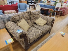 PAISLEY LOVE SEAT W\/WOOD ACCENTS
