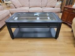 BLACK COFFEE TABLE W\/ GLAS TOP & STORAGE