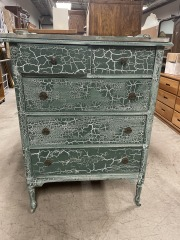 Green five drawer distressed dresser and mirror