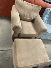 Brown chair and ottoman
