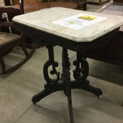 Antique Marble Top Rolling Table - GENTLY USED FURNITURE