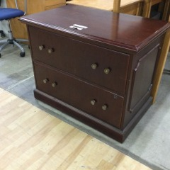 Locking Cherry Lateral Filing Case (AS IS) - OFFICE FURNITURE