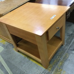 Maple Finish Side Table with Drawer (AS IS) - GENTLY USED FURNITURE