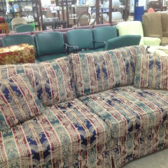 Navy - Green - Gold Ribbon Sofa - GENTLY USED FRUNITURE
