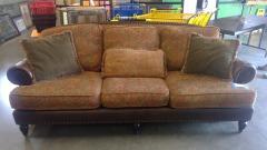 Floral Design Sofa\/w Dark Brown Leather