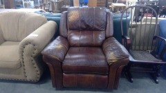 Brown Leather Rocking Recliner Chair